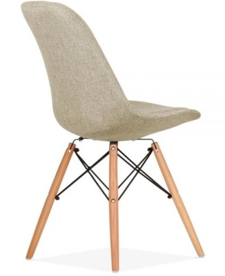 Eames Inspired Dsw Chair Beige Upholstery Rear Angle