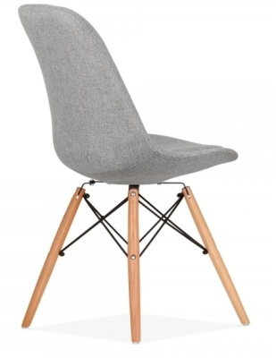 Eames Inspired DSW Chair Grey Upholstery Rear Angle