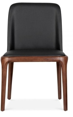 Luxo Dining Chair Black Pu Leather Front Face