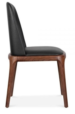 Luxo Leather Dining Chair Black Pu Side View