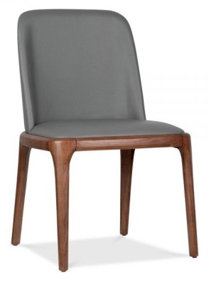 Luxo Grey Leather Dining Chairs
