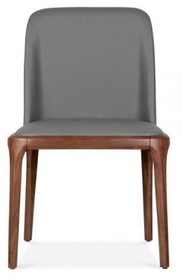 Luxo Grey Leather Dining Chair Front View