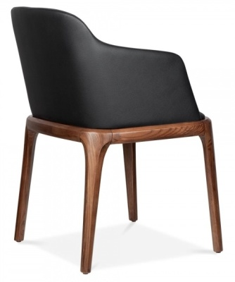 Luxco Black Leather Armchair Rear View
