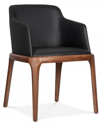 Luxo Black Leather Armchair Fropnt Angle