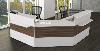 Atalnta Walnut And White Reception Desk 5