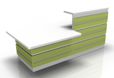 Viosage Reception Desk 2 With Lime Green Cladding