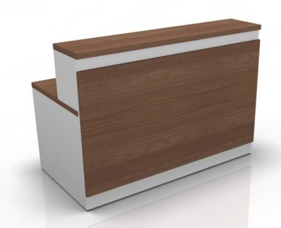 Vidage Reception Desk 4 Amber Walnut Front