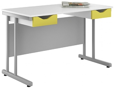 Uclic Double Drawer Desk With Lime Green Drawers