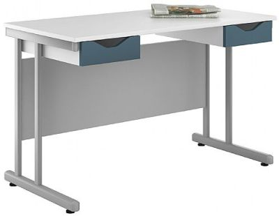 Uclic Double Drawer Desk With Blue Fronts