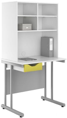 Uclic Desk With Open Storage Hutch And Peach Drawer Front