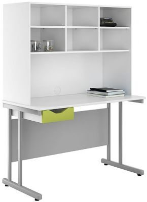 Uclic Desk And Storage Hutch With A Lime Green Drawer Front