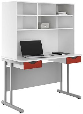 UCLIC Double Drawer Desk With Red Fronts And Overhead Storage Hutch