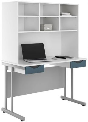 UCLIC Double Darwer Desk With Steel Buue Fronts And Overhead Storage Hutch