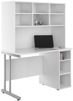 UCLIC Open Cupboard Desk With Overhead Storage Hutch