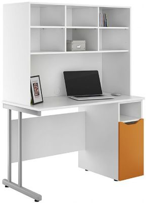 UCLIC Desk With A Storage Cupboard With An Orange Door And Overhead Storage Hutch