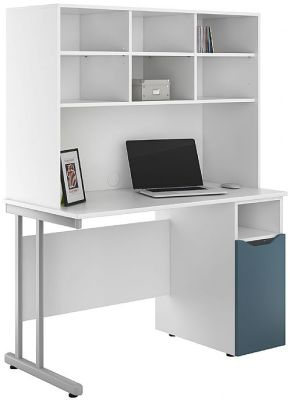 Uclic Desk With A Cupboard With A Steel Blue Door And Overhead Storage Hutch