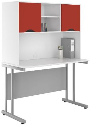 Uclic 1200mm Desk With Overhead Red Doors