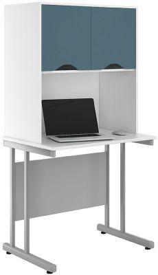 Uclic Desk With Overhead Steel Blue Doors