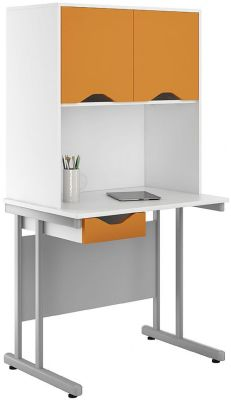Uclic Desk And Overhead Doors And Drawer With Orange Fronts