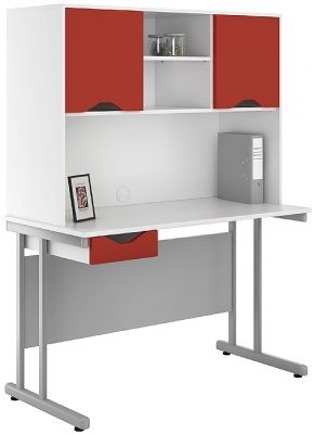 Uclic Desk With Overhead Cupboard And Drawer With Red Fronts And Doors