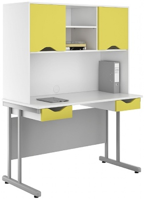 Uclic Double Drawer Desk With Overhead Cupboards With Peach Yellow Fronts
