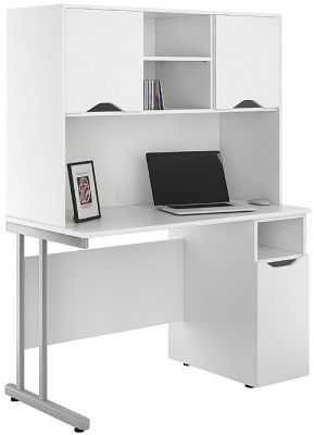 Uclic Desk With Cupboard Doors In White