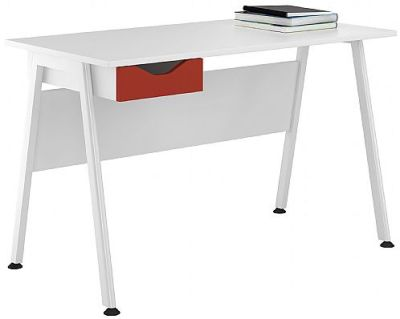 Apire Single Drawer Desk With A Red Drawer Front