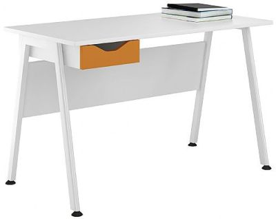 Apire Single Desk With An Orange Drawer Front