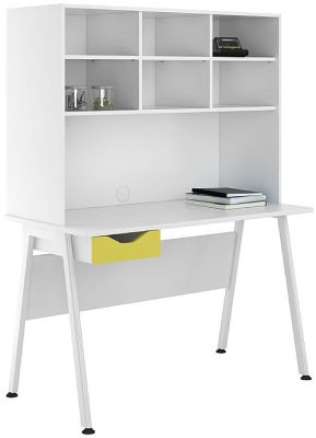 UCLIC Aspire Desk With Hutch And Yellow Drawer