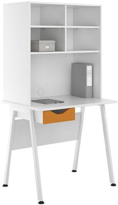 UCLIC 800mm Desk With Open Utch And Red Drawer Front