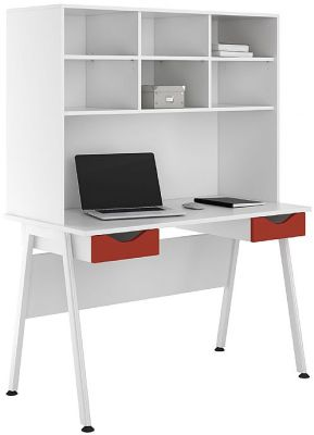 UCLIC Aspre Desk With Two Red Drawers And Overhead Storage
