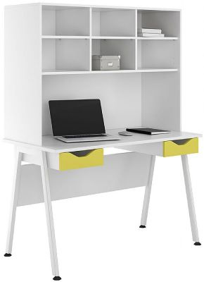 UCLIC Aspire Desk With Overhead Storage And Two Yellow Darwer Fronts