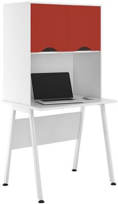 UCLIC Aspire Desk With Overhead Hutch And Red Doors