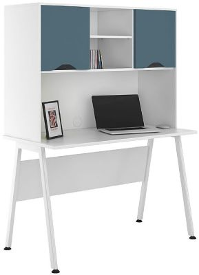 UCLIC Aspire Desk With Overhead Hutch And Steel Blue Doors