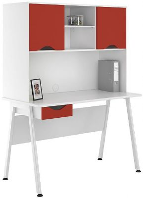 UCLIC Aspire Desk With Red Doors And Drawer