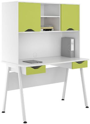 UCLIC Aspire Desk With Two Dawers And Doors In Lime Green