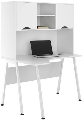UCLIC Aspire Corner Desk With White Doors