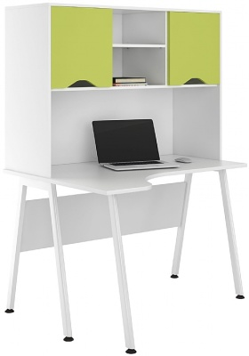 UCLIC Asipre Corner Desk With Lime Green Fronrs