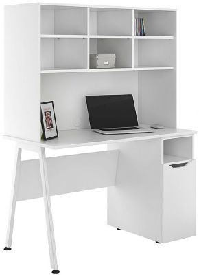 UCLIC Aspire Cupboard Desk Wit A White Door And Open Hutch