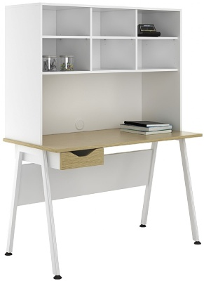 Aspire Sylvan Desk With Drawer And Overhead Storage