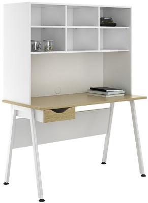 Aspire Sylvan Desk With Drawer And Overhead Storage