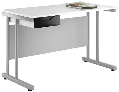 UCLIC Reflections Single Drawer Desk With A Black High Gloss Drawer Front
