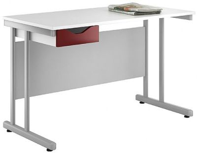 UCLIC Singlle Drawer Desk With A High Gloss Burgundy Drawer Front
