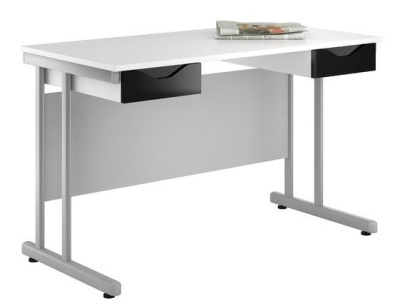 Uclic Create Reflections Double Desk With High Gloss Black Drawer Fronts