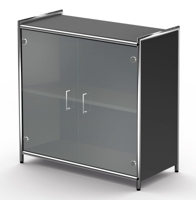 LOw Glass Door Cupboard Anthracite Carcass