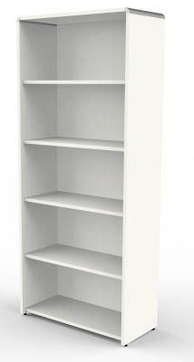 Modem Wide Bookcase In White