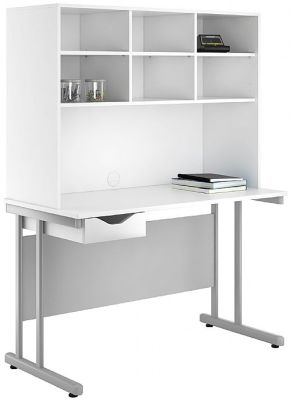 Uclic Create Single Drawer Desk With Overhead Storage And High Gloss White Drawer Front