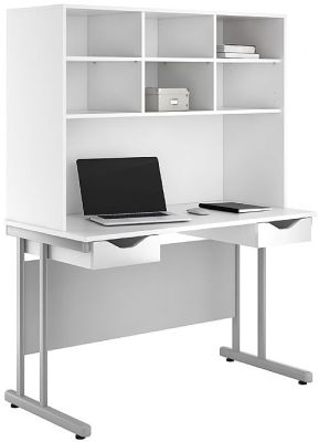 UCLIC Create Double Drawer Desk With Overhead Storage And High Gloss White Drawer Fronts