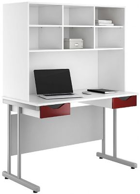 UCLIC Double Drawer Desk With High Gloss Burgundy Drawer Fronts And Overhead Storage