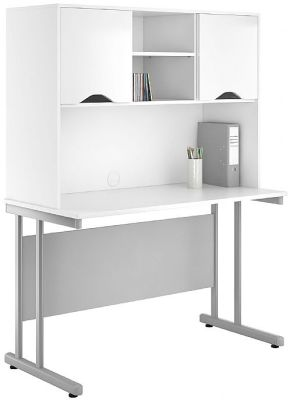 UCLIC Create Desk With Overhead Cupboards And High Gloss White Doors